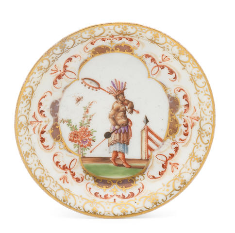 A rare Meissen saucer painted with an Indian figure