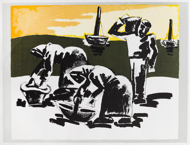 Josef Herman (British, 1911-1999) Fisherfolk Lithograph printed in colours, 1997, on wove, signed and numbered 135/150 in pencil, 490 x 645mm (19 3/8 x 25 3/8in)(I)(unframed)