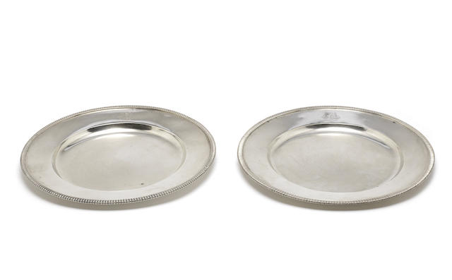 Two matched Indian colonial silver dinner plates by Hamilton & Co Ltd, Calcutta, post-1870  (2)