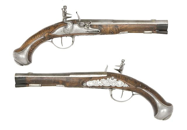 A Pair Of French 25-Bore Flintlock Holster Pistols