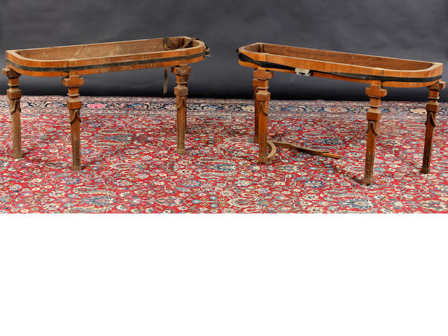 A pair of Adams style mahogany console table bases In need of restoration