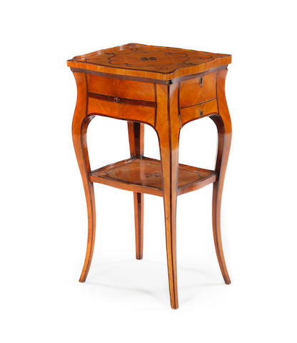 A Louis XV fruitwood and rosewood table a ouvrage, French