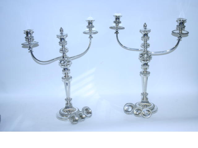 A pair of Old Sheffield plate twin branch candelabra unmarked  (2)