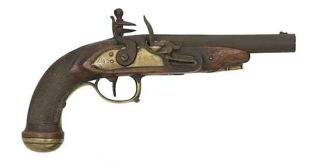 A Liège 22-Bore Flintlock Pistol, And A Continental 50-Bore Flintlock Pistol