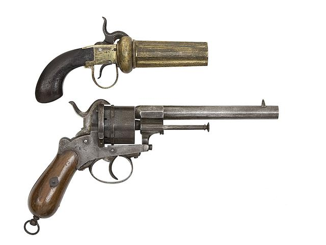 A Swedish Four-Shot Percussion Pepperbox Revolver Of Small Bore, And A Liège 54-Bore Six-Shot Double-Action Pin-Fire Revolver