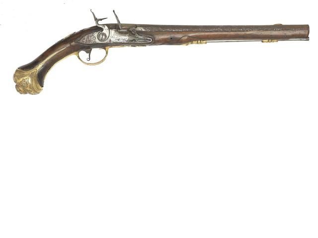 A Dutch 18-Bore Holster Pistol With Fire-Gilt Mounts