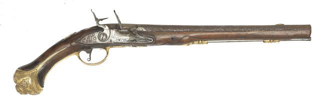 A Dutch 18-Bore Holster Pistol With Fire-Gilt Mounts