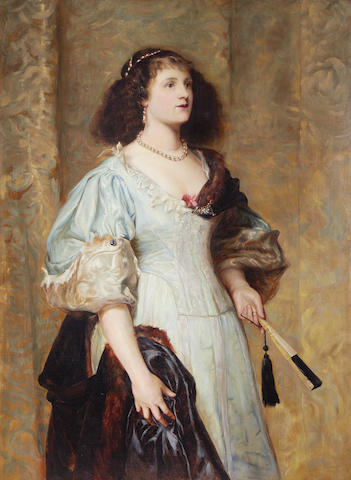 English School, 19th century Portrait of a Lady holding a fan