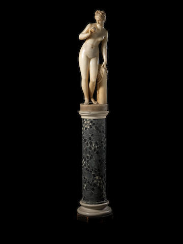 After Bertel Thorvaldsen, Danish (1789-1838): A late 19th century marble figure of Venus with an Apple raised on a marble pedestal