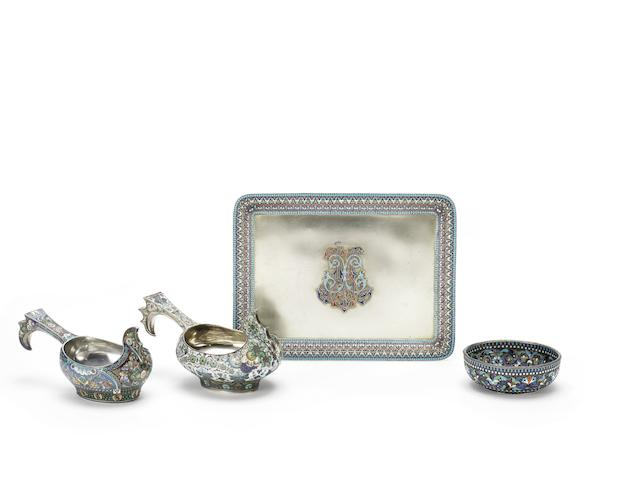 A silver and enamel bowlOvchinnikov with Imperial Warrant, Moscow, 1878