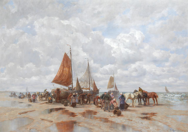 Désiré Thomassin (Austrian, 1858-1933) Unloading the catch
