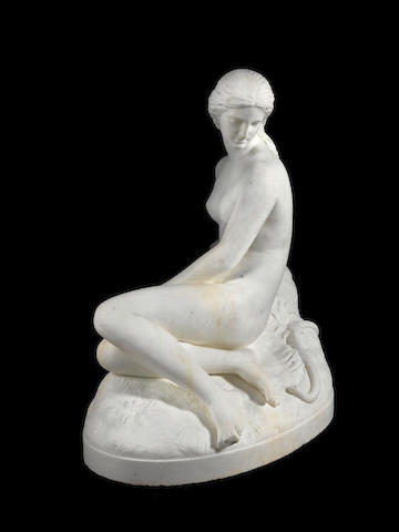 An English 19th century white marble figure of Eveby John Warrington Wood, Roma, dated 1872