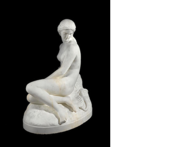 An English 19th century white marble figure of Eve by John Warrington Wood, Roma, dated 1872