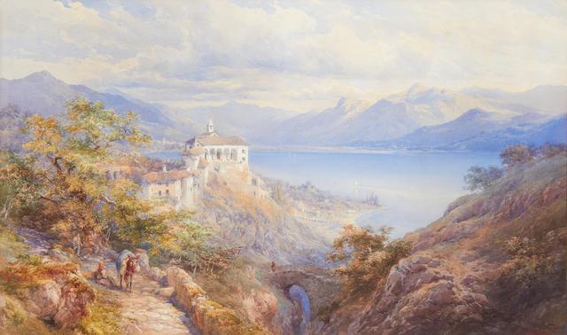 Edward Theodore Compton (British, 1849-1921) Extensive Italian lakeland landscape