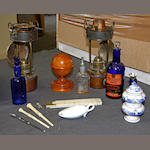 A treen pill-coater and sundry other apothecary's items