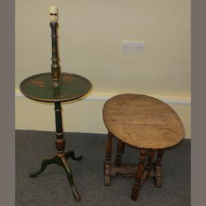 An oak 18th century style oak coffee table together with a chinoiserie lamp base