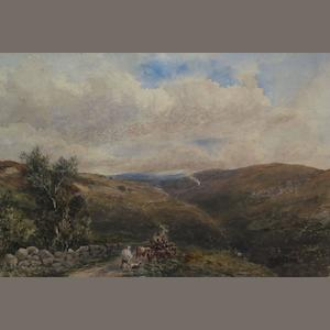 English School Hearding cattle up a highland path 24cm x 34cm,