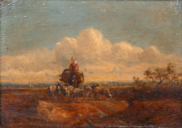 Dutch School, 19th century Girl on a mule driving sheep in a landscape