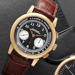 A. Lange & Söhne. A fine 18ct rose gold manual wind chronograph wristwatch together with fitted box and guarantee booklet  1815 Flyback, Ref:401.031, Case No.155986, Movement No.45917, Sold 30th of March 2007