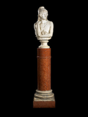 A French 19th century white marble bust of Attisby Jean Baptiste Clésinger, Rome, dated 1860