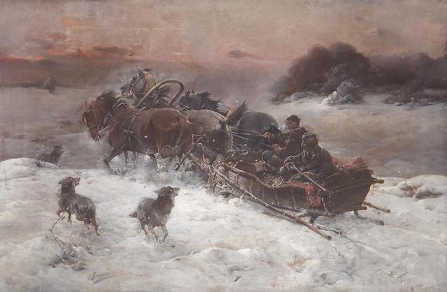 J. Konarski, (Polish, 19th Century) Troika scene