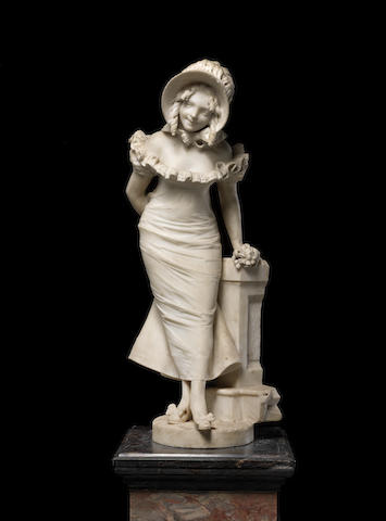 A French late 19th century white marble figure of an elegant lady