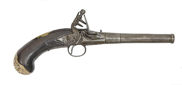 A Continental 18-Bore Flintlock Turn-Off Pistol, And A Continental 55-Bore Flintlock Box-Lock Pocket Pistol