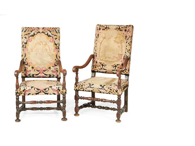 A matched pair of Louis XIV and later walnut armchairs