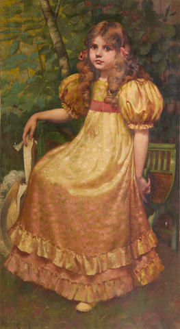 Richard George Hinchcliffe (1868-1942) Portrait of a girl in yellow dress