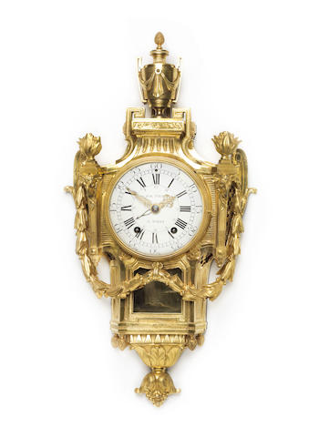 A French late 18th century Louis XVI gilt-bronze cartel clockthe movement by Fol Fils, Paris, circa 1780