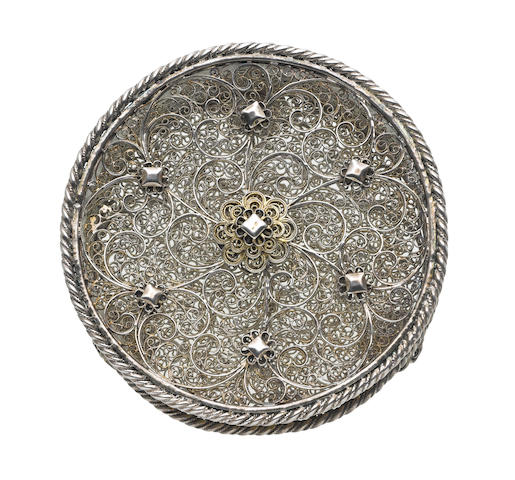 An 18th century silver filigree box unmarked