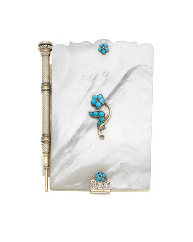 A Victorian gold and turquoise mounted mother of pearl aide memoir and five further similar (6)
