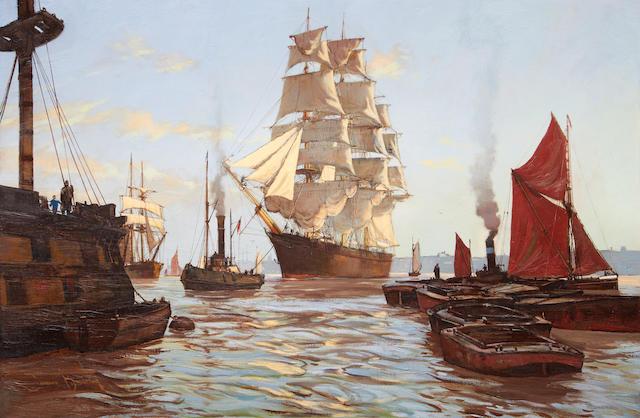 James Brereton (British, born 1954) Sail and steam
