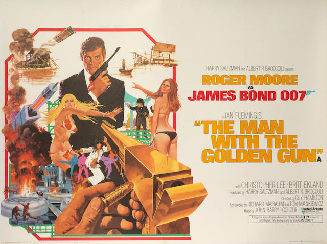 Roger Moore as James Bond: Three British Quad posters,  The Man With The Golden Gun, 1974; The Spy Who Loved Me, 1977 and For Your Eyes Only, 1981,