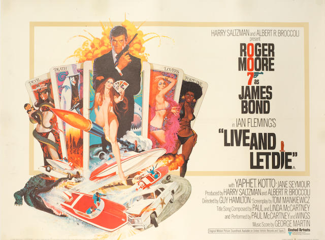 Roger Moore as James Bond: Three British Quad posters,  Live And Let Die, 1973; Moonraker, 1979 and Octopussy, 1983; 3