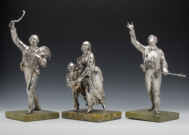 A Victorian silver group of three figures by John Samuel Hunt, London circa 1850, partial marks