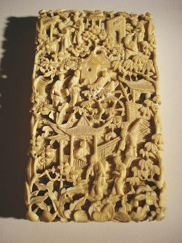 A Chinese carved ivory card case Circa 1860