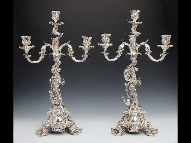 A Victorian electroplated pair of four light naturalistic candelabra by Elkington & Co., date code 1858