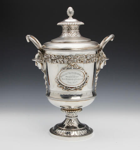 A George III silver two handled lidded trophy by Robert Garrard I, London 1807