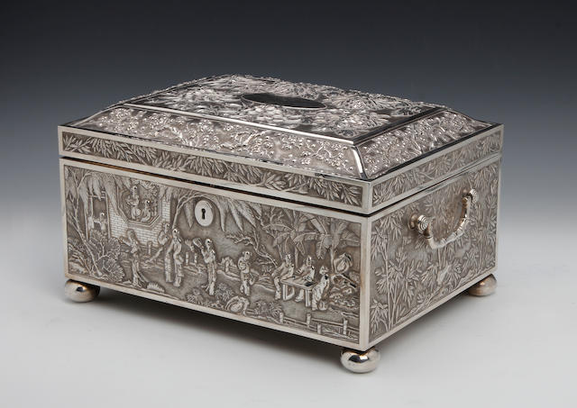 A Chinese silver presentation cigar box by Wong Hing, Hong Kong, circa 1890