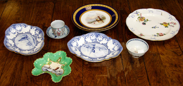 A pair of Royal Crown Derby blue and white dishes by William Dean,another dish by the same artist, a Sevres style plate, a Grainger and Co plate, a Lowestoft teabowl and two Chinese pieces, the dishes painted with shipping scenes, 23.5cm, the smaller dish painted with a shipping scene on a green ground, 16cm (8)