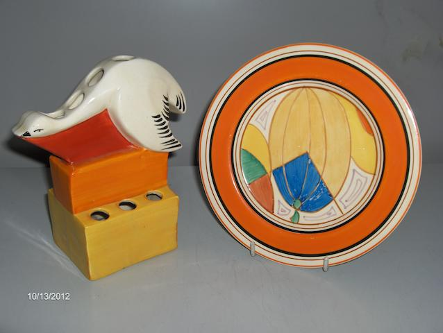 Clarice Cliff Bizarre, Melon pattern,(Picasso Fruit) plate 18cm diam and a Swan flower brick.