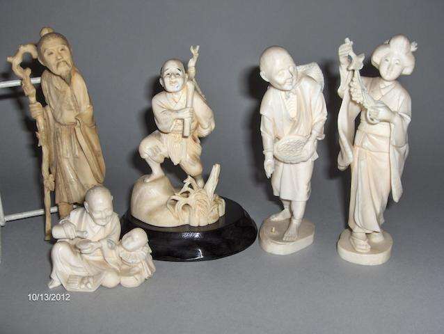 Five Japanese carved ivory figures,comprising a seated man with a child, a bearded sage, two of farmers and another of a bijin,