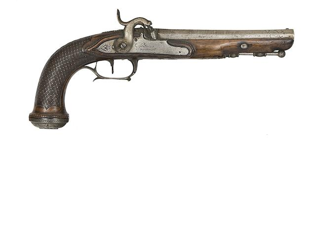 A French 25-Bore Percussion Pistol, And A Liège 25-Bore Percussion Target Pistol
