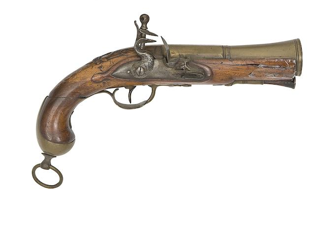 A French Brass-Barrelled Flintlock Blunderbuss-Pistol