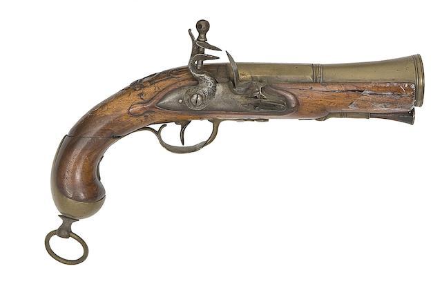 A French Brass-Barrelled Flintlock Blunderbuss-Pistol