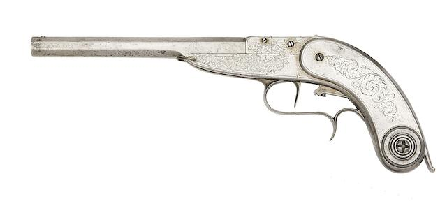 A Very Rare Belgian Montigny System All-Metal Breech-Loading Needle-Fire Target Pistol Of Small Bore