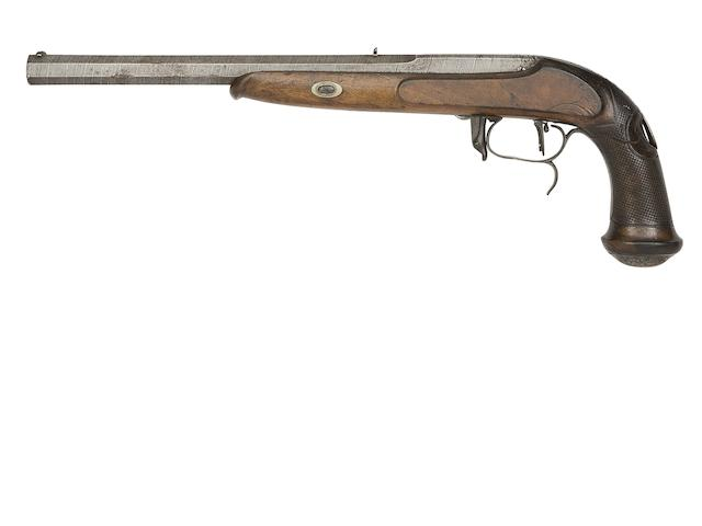 A Very Rare Belgian 40-Bore Montigny Patent Breech-Loading Needle-Fire Target Pistol