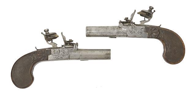 A Pair Of Liège 40-Bore Flintlock Box-Lock Pocket Pistols
