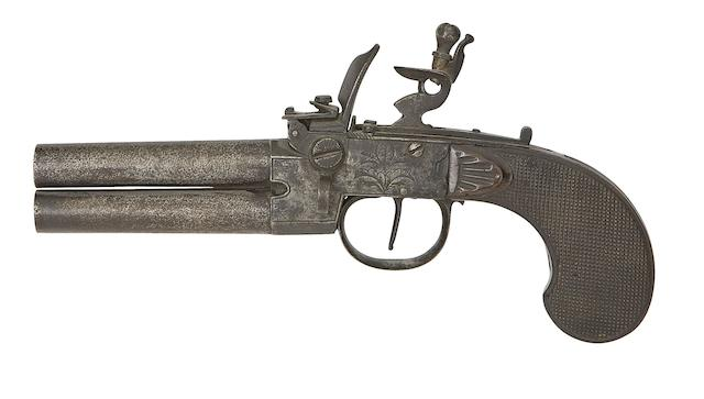 A Liège 60-Bore Flintlock Box-Lock Over-And-Under Tap-Action Pistol, A Continental 40-Bore Flintlock Box-Lock Pistol, And Another Of 55-Bore